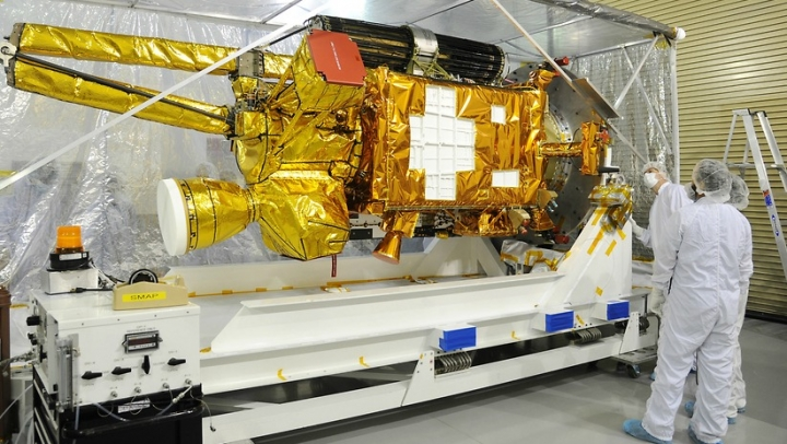 The SMAP being unpacked following delivery toVandenberg Air Force Base late last year. Credit: NASA