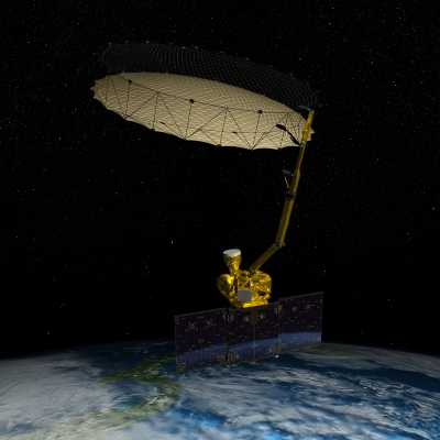 An artist's rendition of what the solar-powered SMAP will look like in space. Credit: NASA