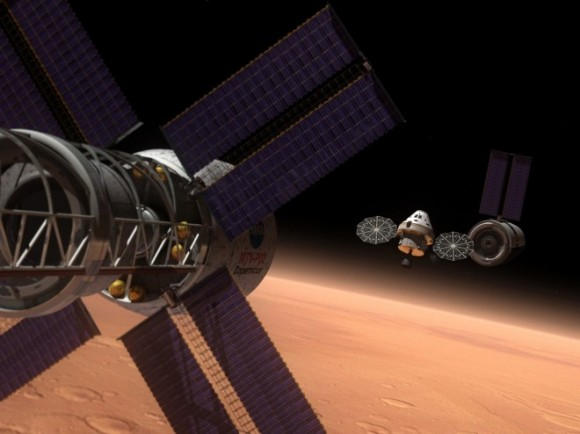 Concept art showing a nuclear thermal propulsion piloted craft achieving Mars orbit. Credit: NASA