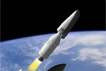 Artist's conceptualization of the fairing separating from the IXV vehicle during launch.    Credit: ESA/J. Huart, 2011
