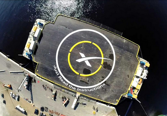 """SpaceX's autonomous spaceport drone ship, named """"Just Read the Instructions,"""" is designed to be an offshore landing pad for the company's Falcon 9 rocket. SpaceX aims to land the Falcon 9's first stage on the ship during the DSCOVR satellite launch on Feb. 10, 2015.   Credit: SpaceX via Elon Musk, Twitter"""