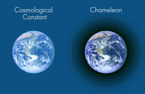 """Dark energy has the same value everywhere in a """"cosmological constant"""" model. If dark energy is described by a """"chameleon"""" field instead, it would have only minor effects around massive objects such as Earth.Olena Shmahalo/Quanta Magazine.Earth via NASA / Deglr6328 ."""