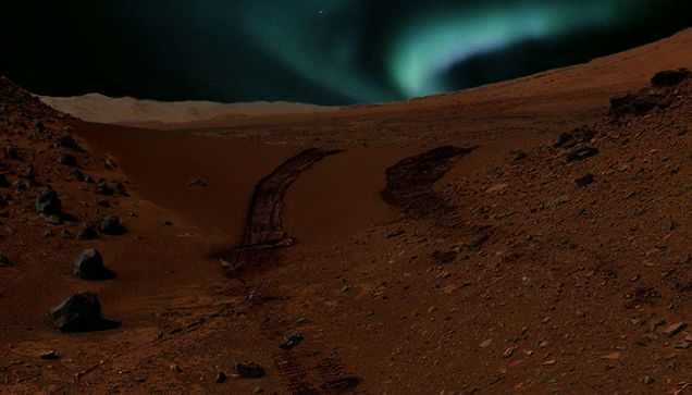 Artist's conception of aurora on Mars, NASA/JPL-Caltech/MSSS and CSW/DB