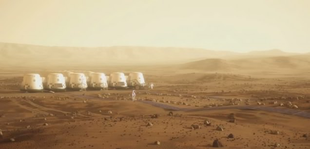 The proposed Mars One colony, a series of inflatable habitats
