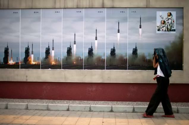 Photos of Shenzhou 6 spaceship, China's second human space flight mission, exhibited in Beijing, China in 2011. AP Photo/Alexander F. Yuan
