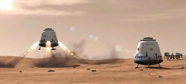 Rendering of Space X's proposed crewed landing on Mars, which Elon Musk said could happen by 2026