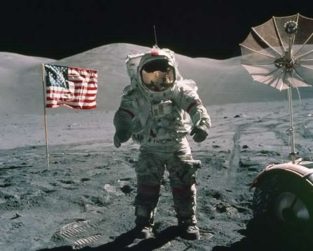 Apollo 17 commander Eugene Cernanwas the last human to walk on the Moon—on December 13, 1972. Photo by NASA