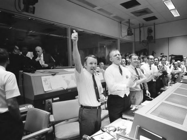 The Apollo 11 landing being celebrated at Mission Control, July 1969. Photo by NASA