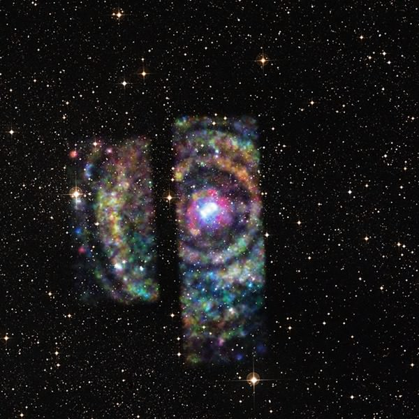 Light echoes around a neutron star have allowed a precise distance to be determined to it. These light echoes are produced when a burst of X-rays bounces off of clouds. X-ray: NASA/CXC/Univ. of Wisconsin-Madison/S.Heinz et al; Optical: DSS
