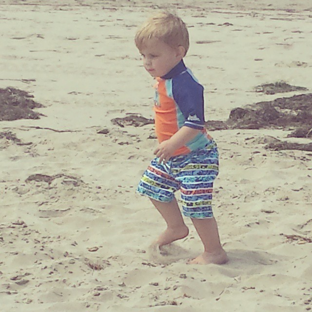#Finnegan @ the beach experimenting with sand and walking /falling...