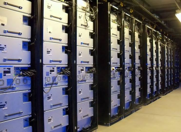A row of storage units housing Blu-Ray disks inside Facebook's North Carolina data center. (Photo: Rich Miller)