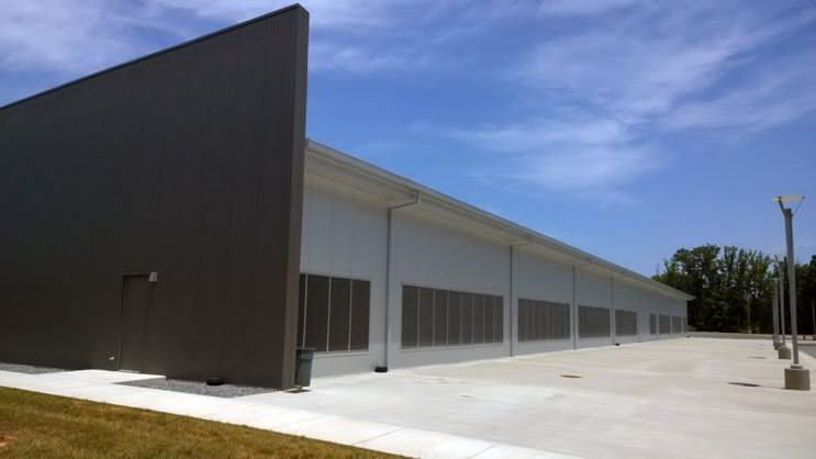 One of the Facebook cold storage data centers in Forest City, N.C. The louvers lining the walls of the building bring fresh air into the facility to cool the storage racks. (Photo: Rich Miller)