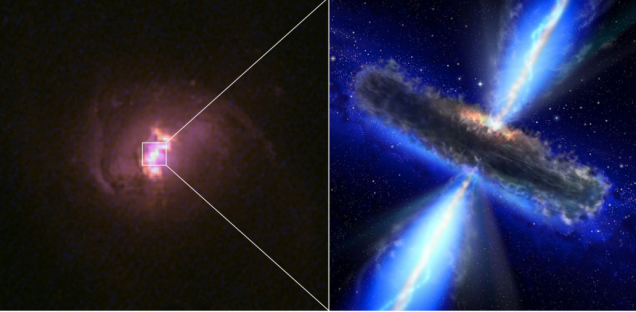 Image: Hubble picture of one of the clouded over black holes / Hubble Legacy Archive, NASA, ESA., next to an artist's concept of the black hole, minus the clouds / NASA, ESA.