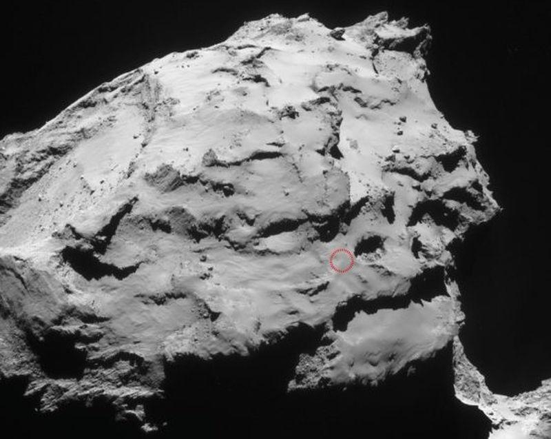 The circle marks the spot on Ma'at (Image: ESA/Rosetta/MPS for OSIRIS Team MPS/UPD/LAM/IAA/SSO/INTA/UPM/DASP/IDA)