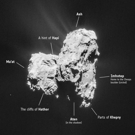 The Ma'at region is located on the smaller of the comet's two prominent lobes. (Image: ESA/Rosetta/MPS for OSIRIS Team MPS/UPD/LAM/IAA/SSO/INTA/UPM/DASP/IDA)