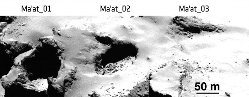 Active pits on Ma'at (image: ESA/Rosetta/MPS for OSIRIS Team MPS/UPD/LAM/IAA/SSO/INTA/UPM/DASP/IDA)