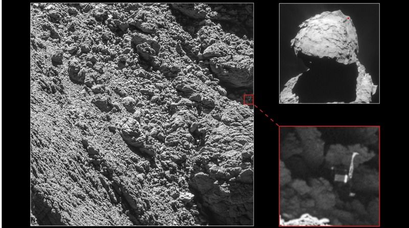 Rosetta's high-resolution camera found the Philae lander wedged into a dark crack on Comet 67P/Churyumov-Gerasimenko. (Main image, lander inset: ESA/Rosetta/MPS for OSIRIS Team MPS/UPD/LAM/IAA/SSO/INTA/UPM/DASP/IDA; context: ESA/Rosetta/ NavCam–CC BY-SA IGO 3.0)