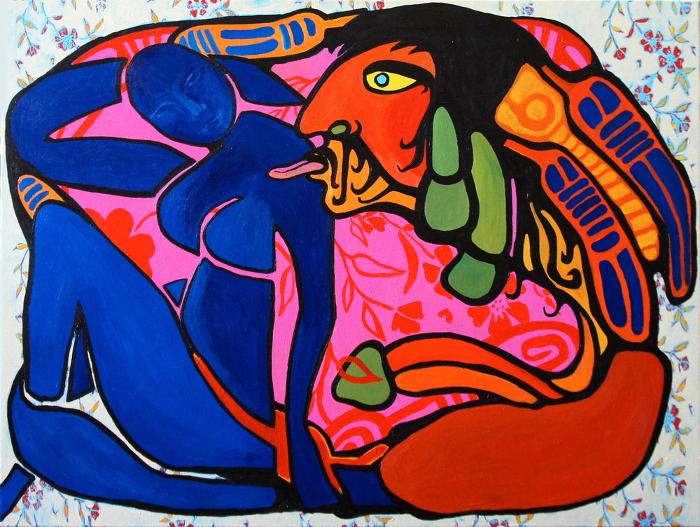 Cultural Exchange: Norval courting European Muse (30x40) acrylic on canvas 2012