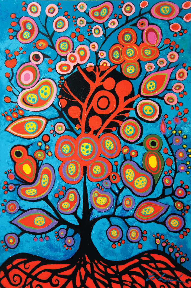 Positive Thoughts /Study Norval Morrisseau (60x48) acrylic on canvas 2012