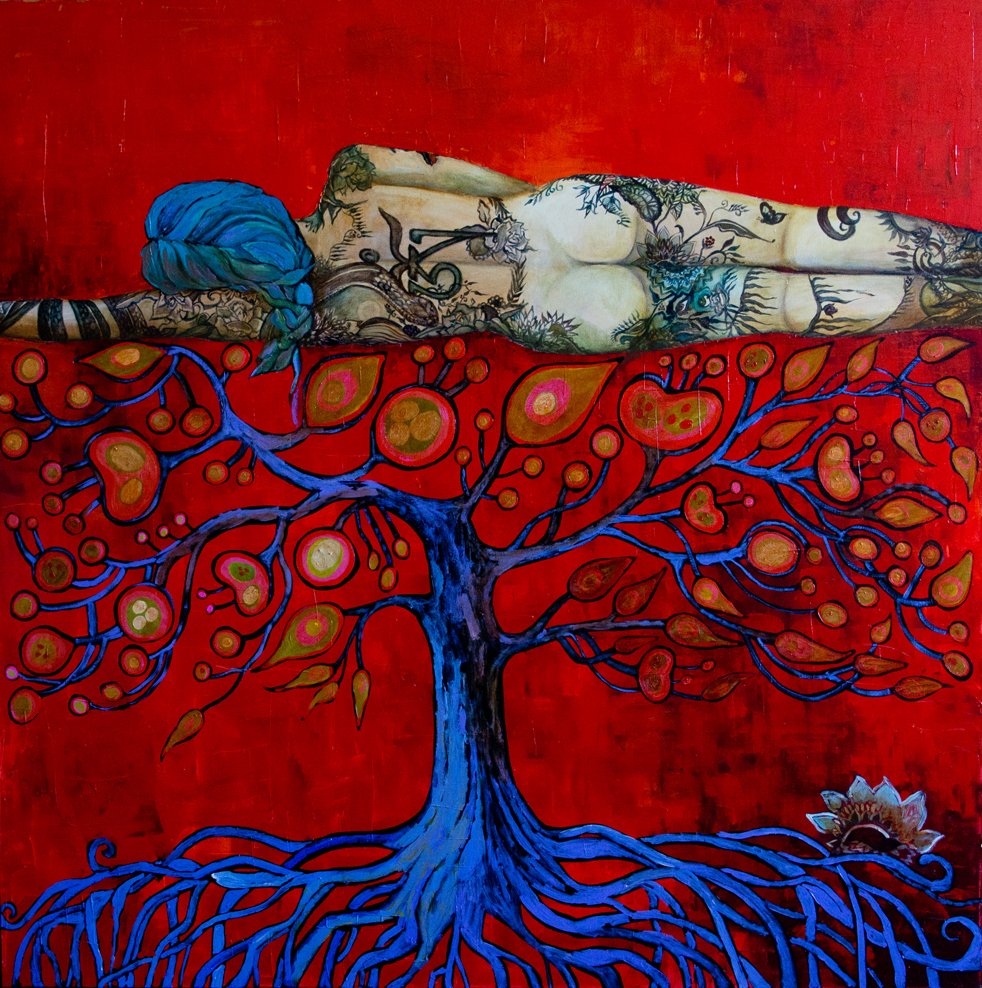 Om Tree (55x55) acrylic on canvas - 2011