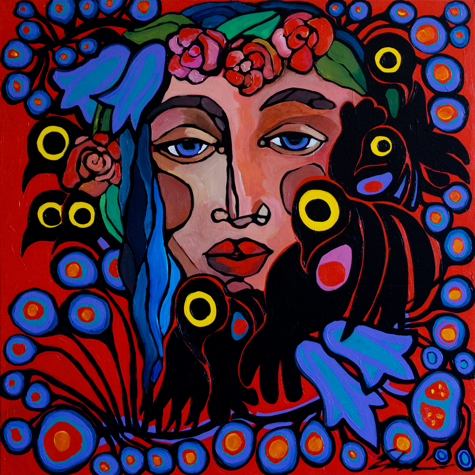 Moi - visual transformation in red (30x30) acrylic on canvas 2011