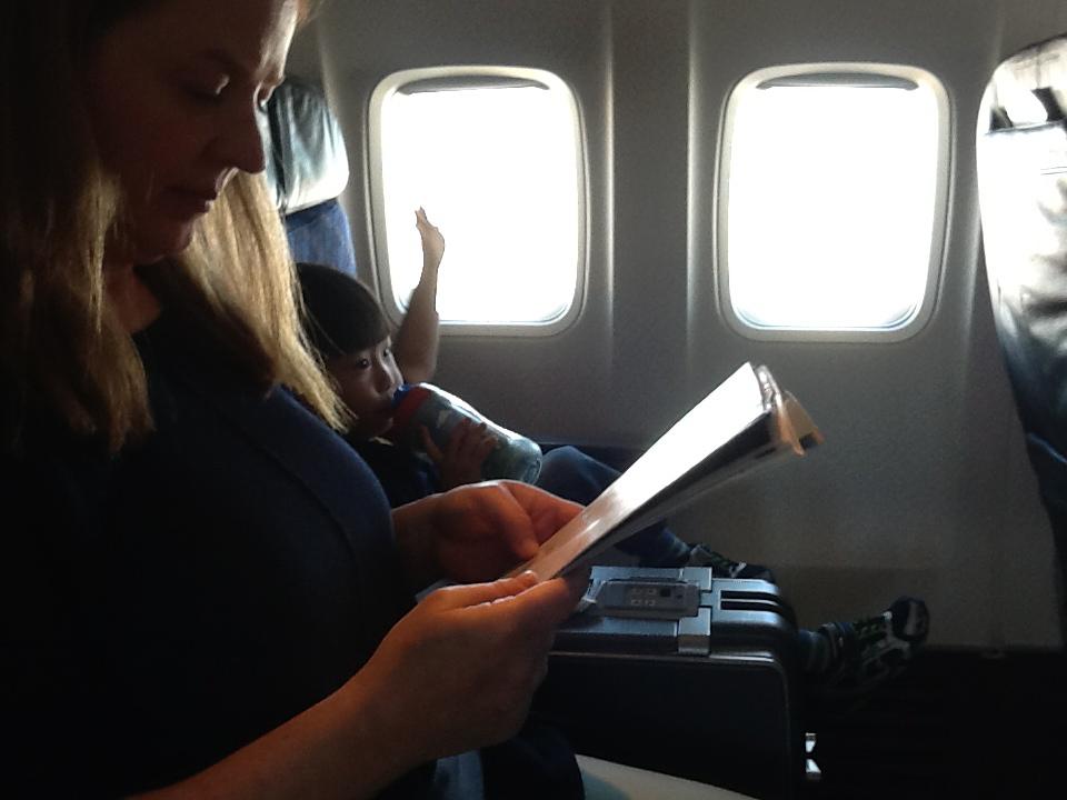 Chillin' on the flight to Nassau.
