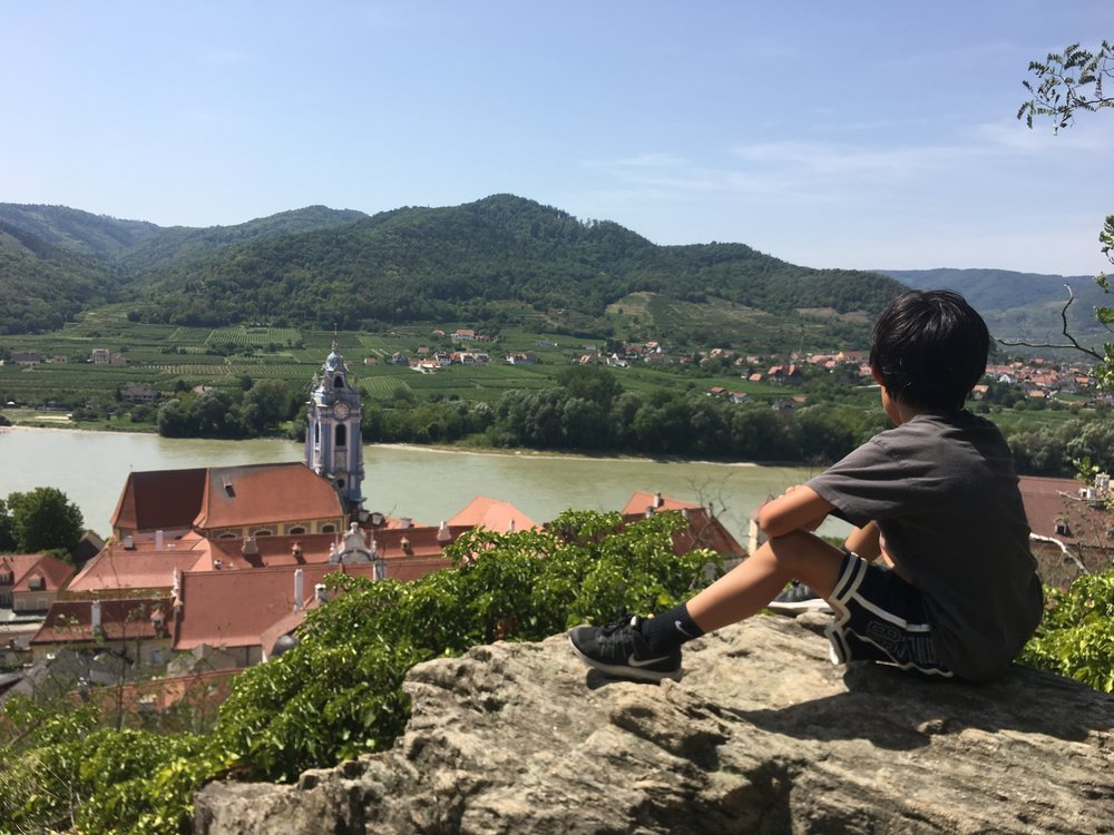 The view from castle ruins sitting above Durnstein, Austria