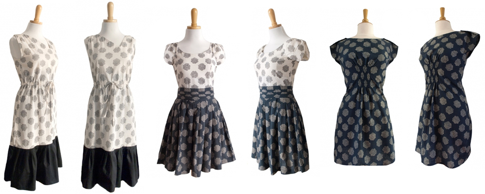 From left to right - Dahee Dress, Garden Party Dress & Shanghai Shift Dress.