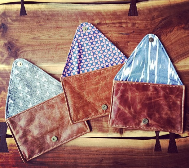Fair Coast envelope clutches with repurposed Mata Traders fabric as lining.