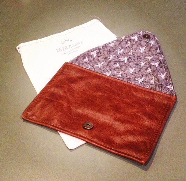 Fair Coast leather clutch with my textile design as the lining!