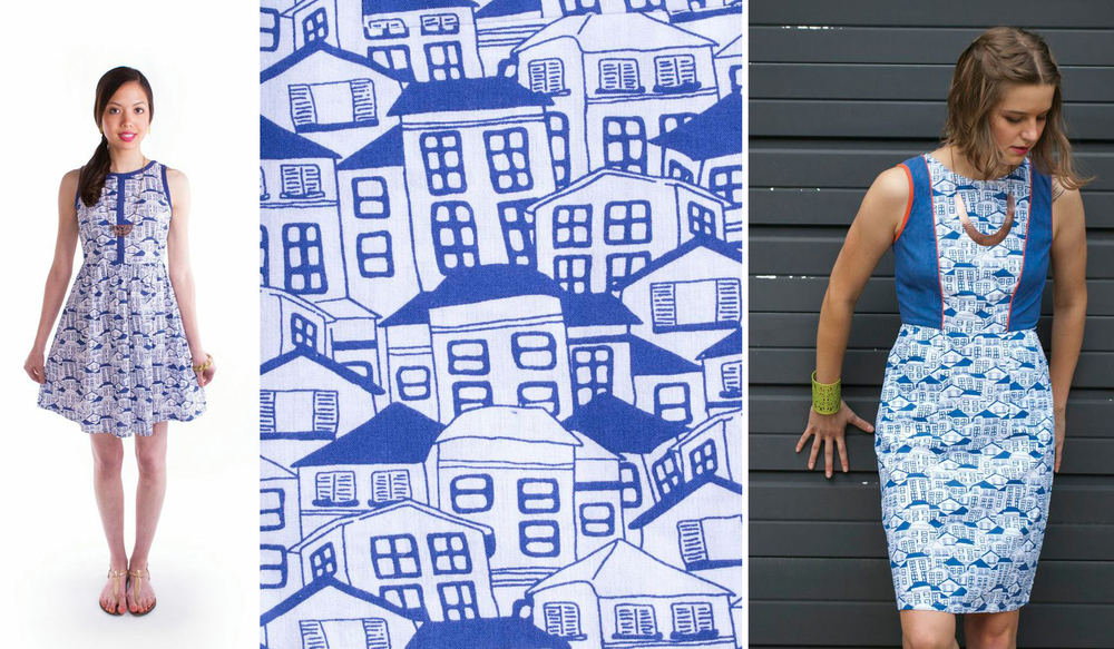 Little Houses Print. Textile design by Shifra Whiteman. Dresses by Mata Traders.