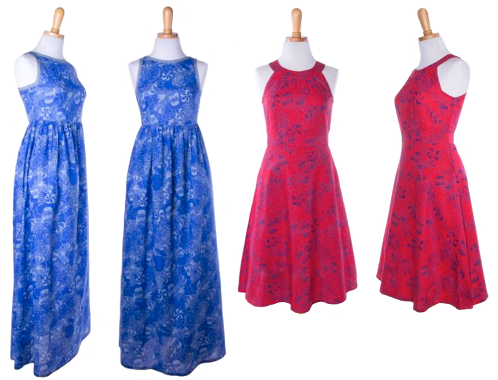 From right: Parisian Book Shop Dress  &  Isle of the Sky Dress