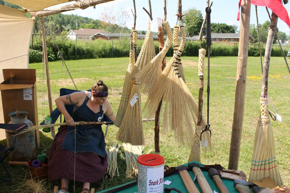 Saga Tying Brooms at the Wabeno Steam Show 2013
