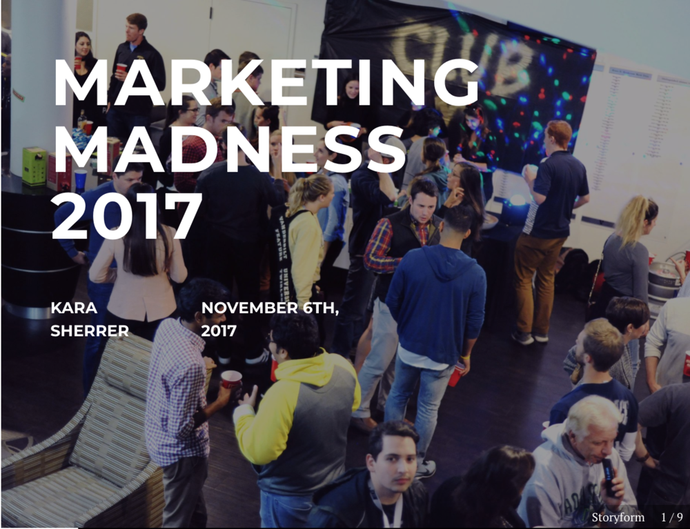 Photo Gallery Story - At the annual Marketing Madness event, students created promotional booths for major brands including Mars, Hanes, Mattel, and more.