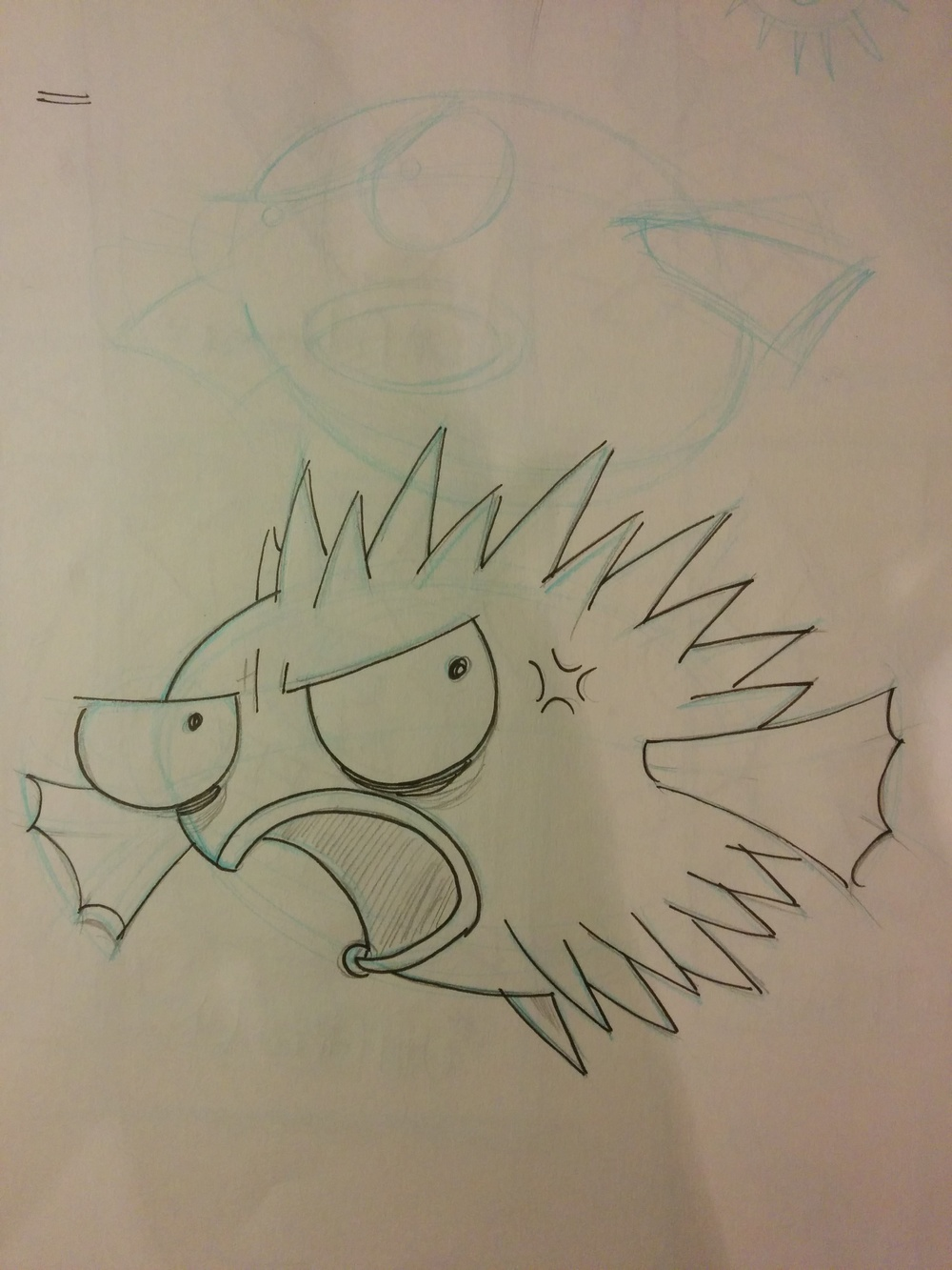 "Recent ""mascot"" design sketch that I did for a pop-punk band called ""Fugu"". This was probably my 15th sketch."