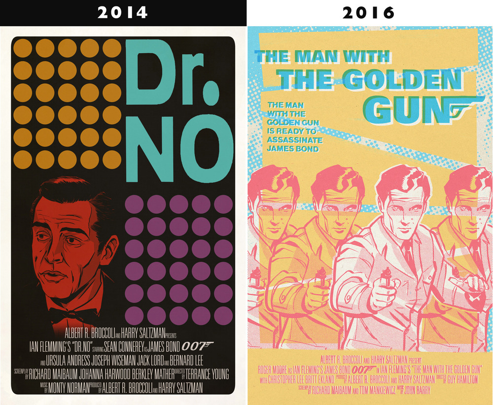 Left: This was by far my best work when I started school. Right: a recent poster design that I created in about a quarter of the time I spent on the Dr.No poster.