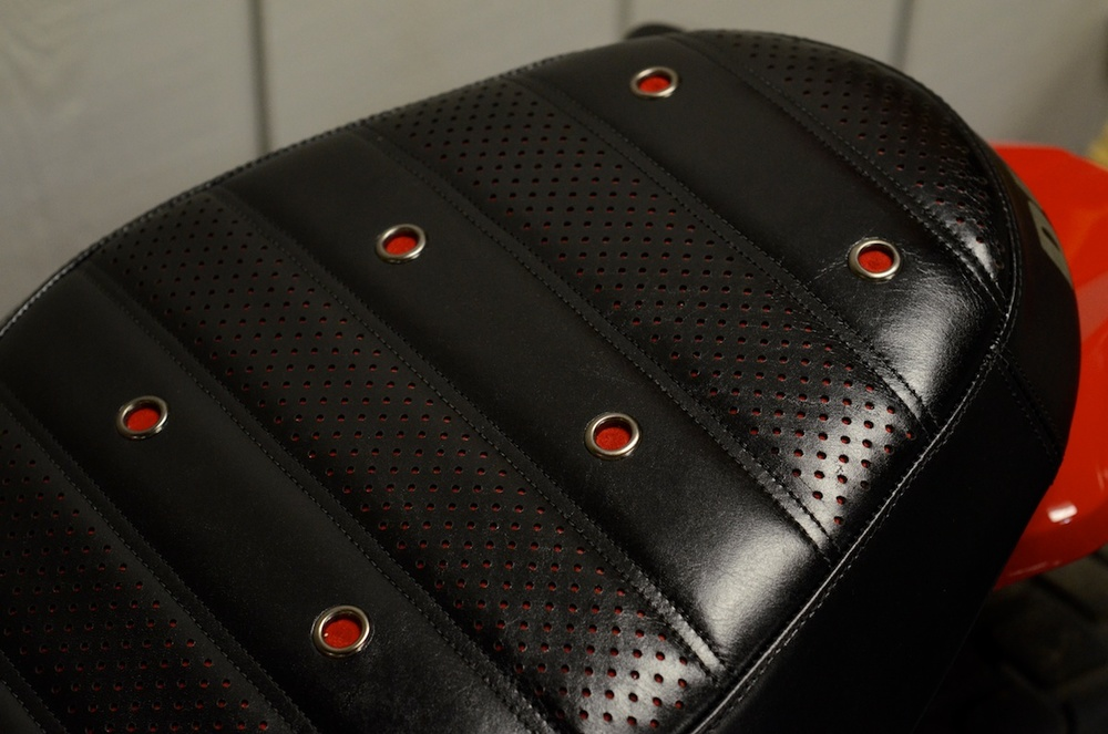 Ducati Scrambler custom leather saddle seat pleated laser cut perforated red suede stitching custom ducati leh saddles obsidian leather goods 3.jpg