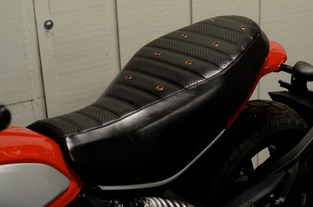 Ducati Scrambler custom leather saddle seat pleated laser cut perforated red suede stitching custom ducati leh saddles obsidian leather goods 4.jpg