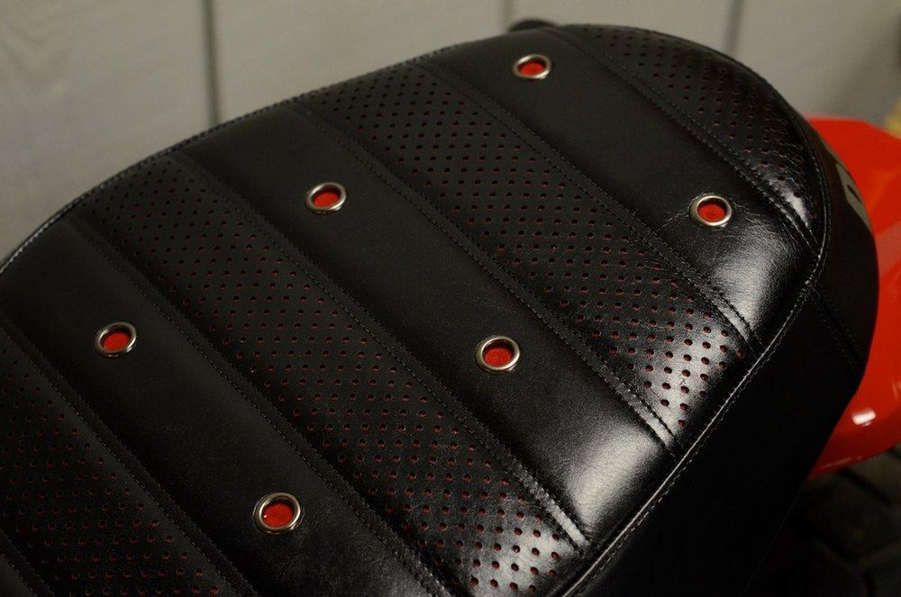 Ducati Scrambler custom leather saddle seat pleated laser cut perforated red suede stitching custom ducati leh saddles obsidian leather goods 3.jpg