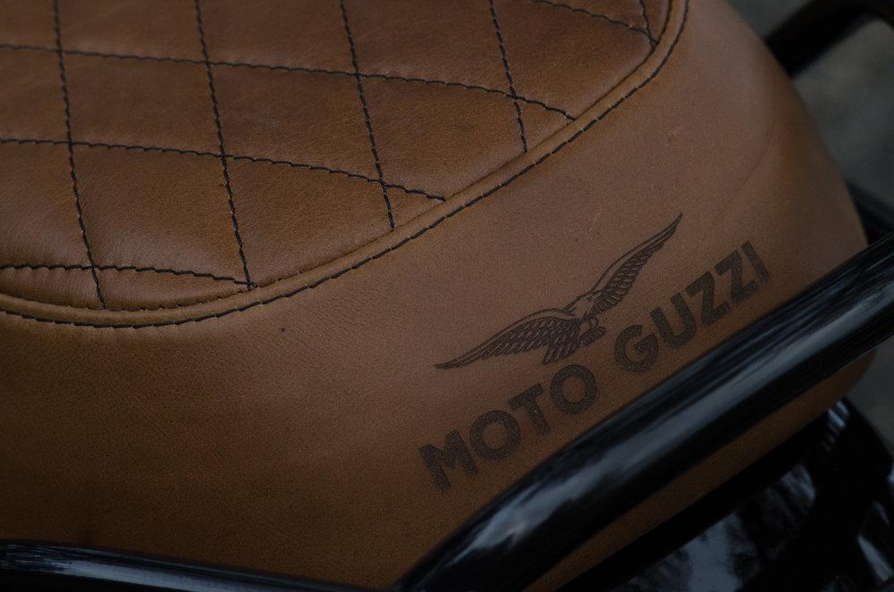 Obsidian Leather Goods Custom Moto Guzzi leather saddle with etched logo- custom- -9.jpg
