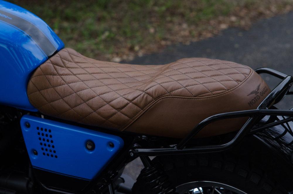 Obsidian Leather Goods Custom Moto Guzzi leather saddle with etched logo- custom- -4.jpg