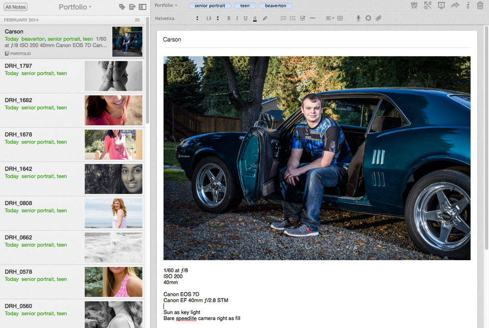 Collect your photos, one per note, in a dedicated Portfolio notebook