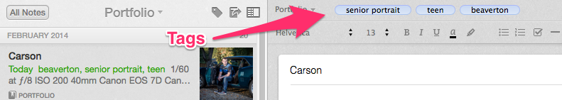 Organize your image notes using tags