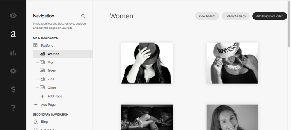 Squarespace image gallery admin interface