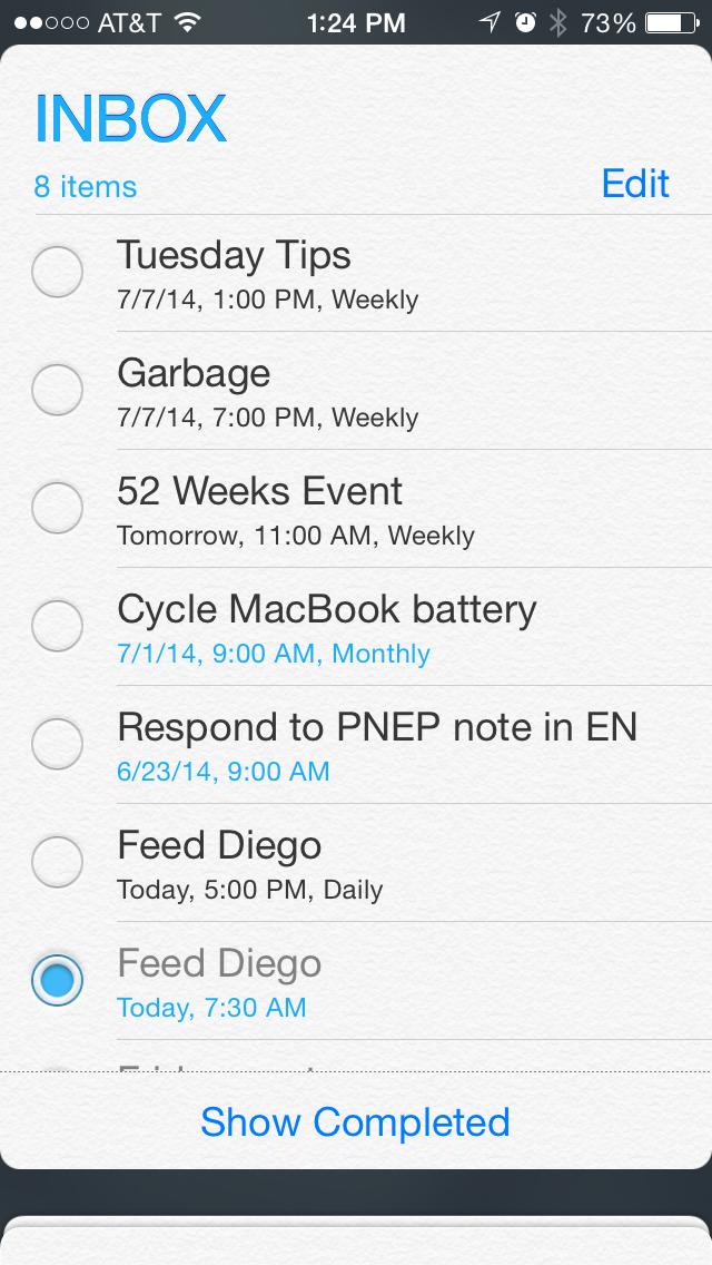 iOS Reminders App