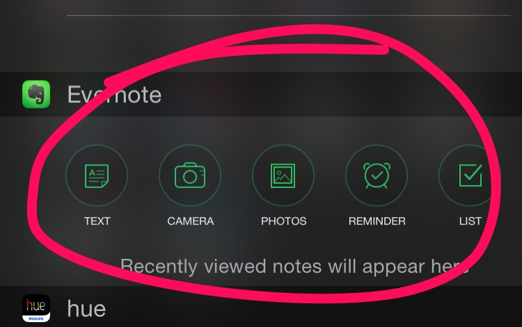 Evernote iOS Widget