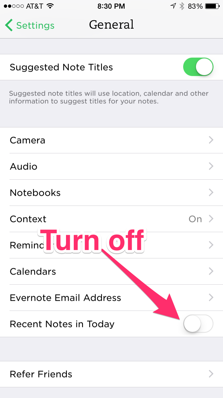 Evernote iOS Settings