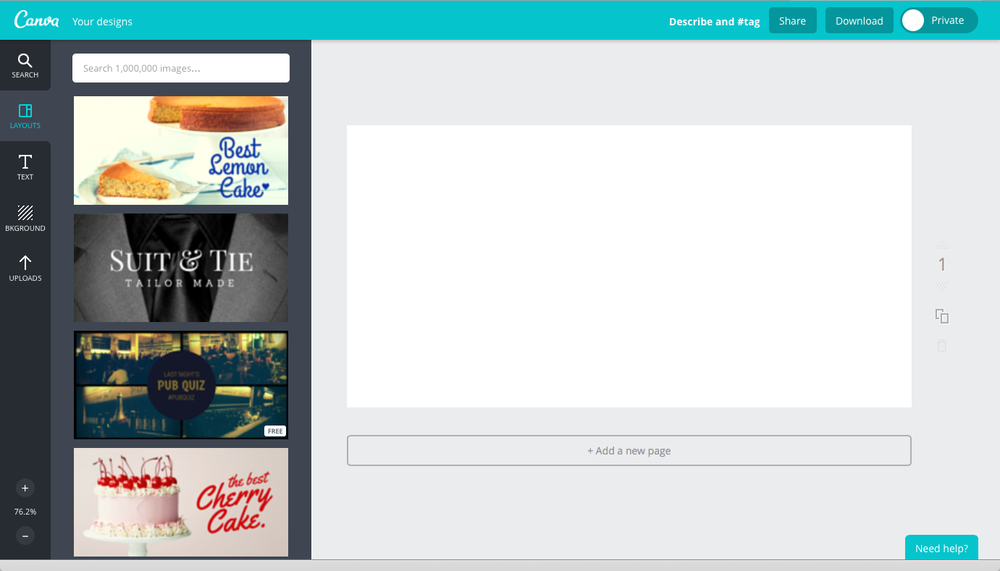 Main Canva screen