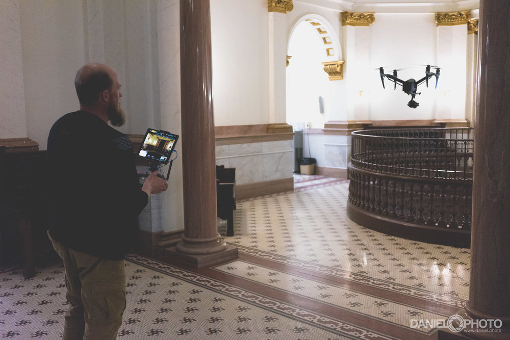 Steve flies his DJI Inspire in the Cascade County Courthouse