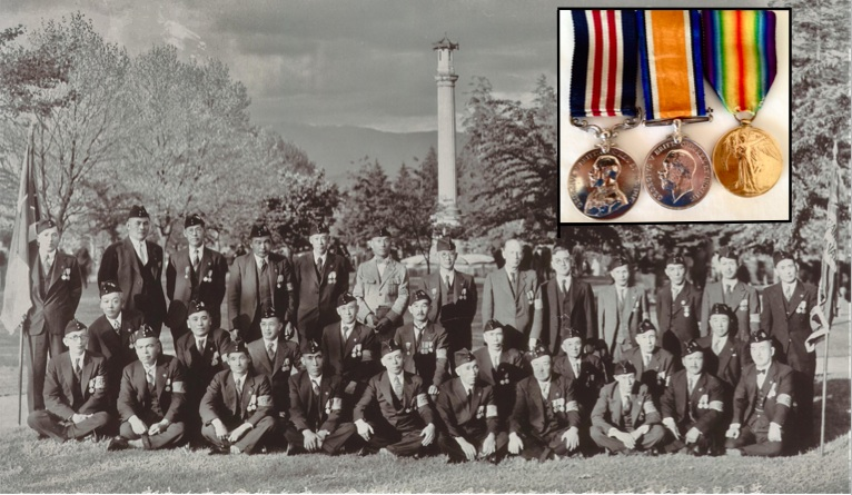 Japanese-Canadian veterans of the First World War gather at Japanese Canadian War Memorial in 1939. Sgt. Masumi Mitsui kneels at the centre of second row, his three medals (see inset) still worn proudly.